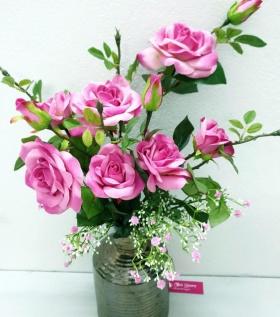 Bình hoa lụa cao cấp hồng cánh sen điểm nhấn dịu dàng