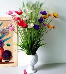 Bình hoa lụa cao cấp cỏ may và cúc bướm