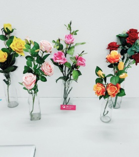 Bình hoa lụa cao cấp hoa hồng nhỏ xinh