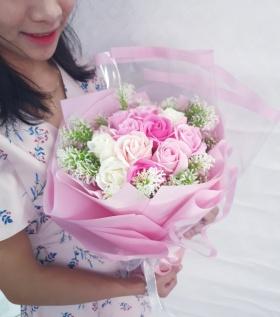 Bó hoa hồng sáp thơm cao cấp ngôn ngữ của trái tim