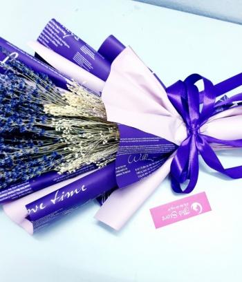 Bó hoa Lavender bó giấy tím trắng cao cấp