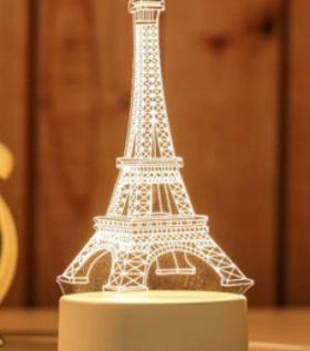Đèn Led 3D chuyển màu hình tháp Pari