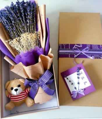 Hộp Lavender kèm móc khoá gấu bông
