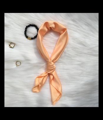 Khăn turban lụa vuông màu hồng cam