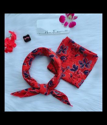Khăn turban vuông lụa đỏ