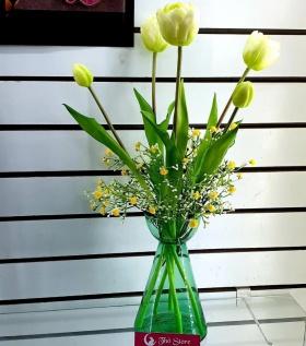 Hoa lụa Tulip kèm cành lá cực đẹp
