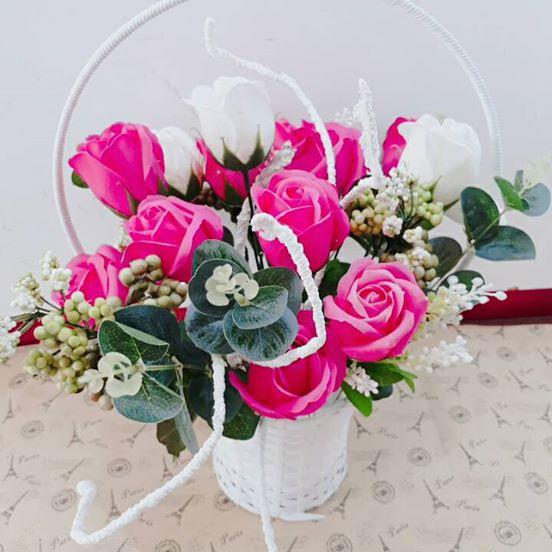 Giỏ hoa hồng sáp cao cấp, đẹp mãi theo thời gian, quà tặng thiết thực dịp  20.11